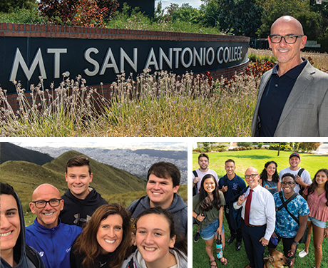Peter Hidalgo before the Mt. San Antonio Sign, with family, and with students whom he mentors.