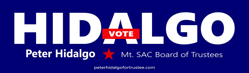 Vote Peter Hidalgo for Mt. SAC Board of Trustees - Banner.